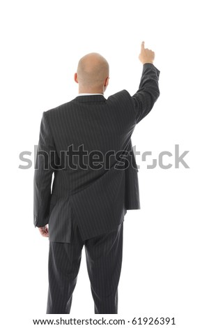 Businessman points hand up. Isolated on white background - stock photo