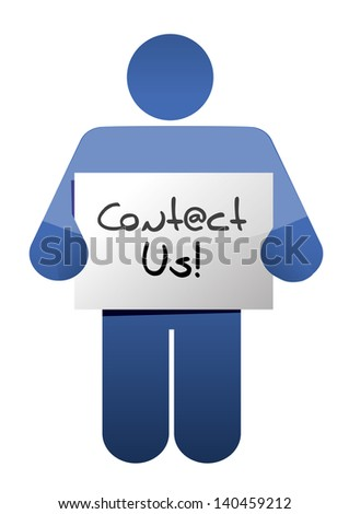 businessman points on a card Contact Us on a white background