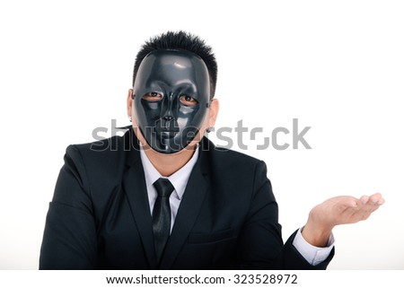 businessman portraits, black mask on the face, Money in hand, on white background  - stock photo