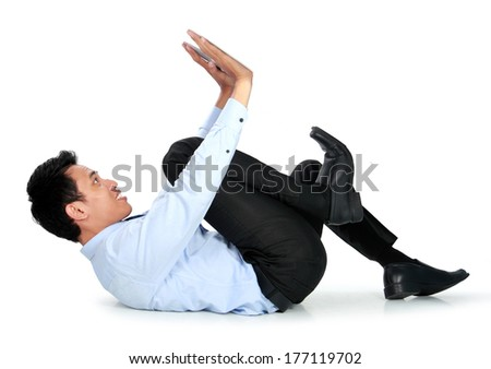 Businessman posing for conceptual photo on white background. push on blank space
