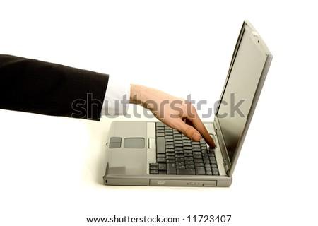 Businessman powering the laptop on - stock photo