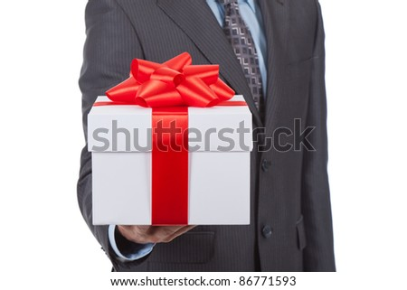 Businessman present gift box isolated over white background, series photo - stock photo