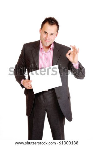 Businessman presenting card isolated on white - stock photo