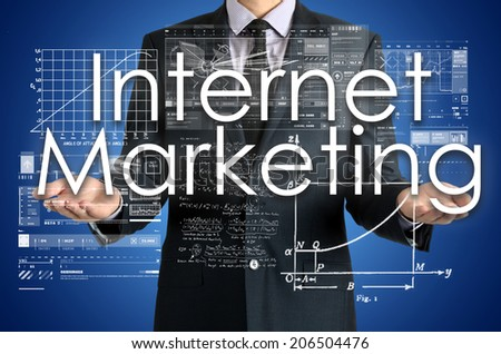 businessman presenting Internet Marketing concept of his own hands:  - stock photo