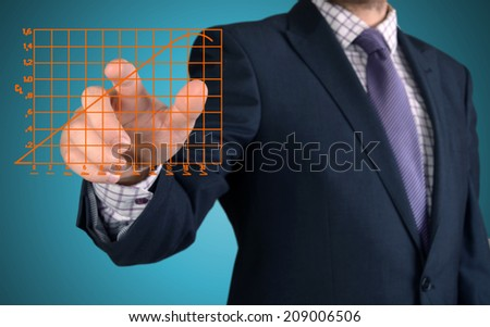 businessman presenting sketches and charts