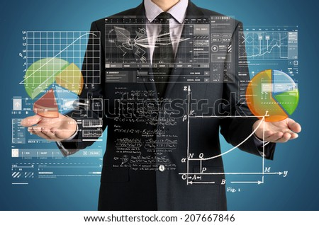 businessman presenting some diagrams and sketches - stock photo