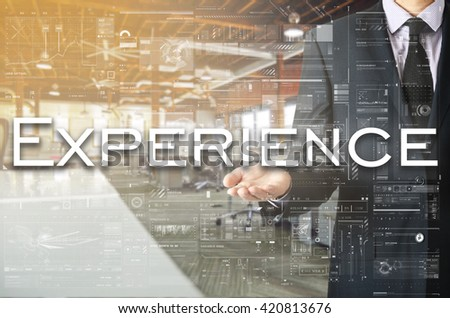 Businessman presenting text Experience on virtual screen. He is  - stock photo