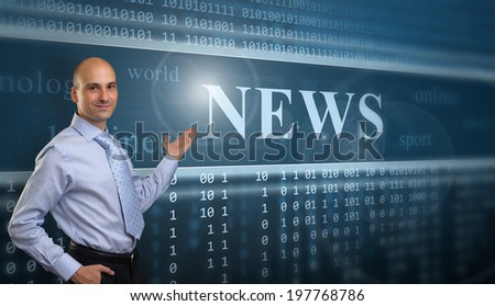 Businessman Presenting The News on digital screen
