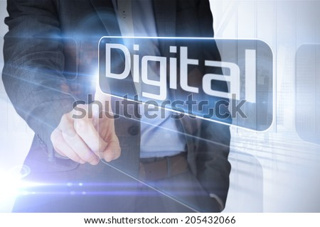Businessman presenting the word digital against white room with large window overlooking city
