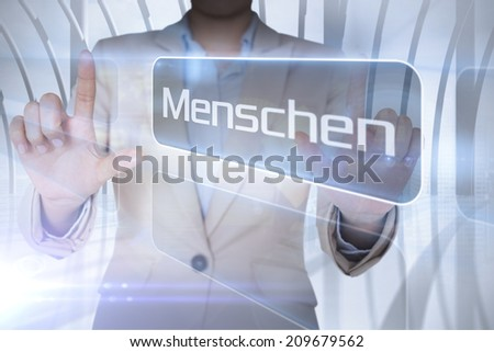 Businessman presenting the word people in german against white room with large window overlooking city - stock photo