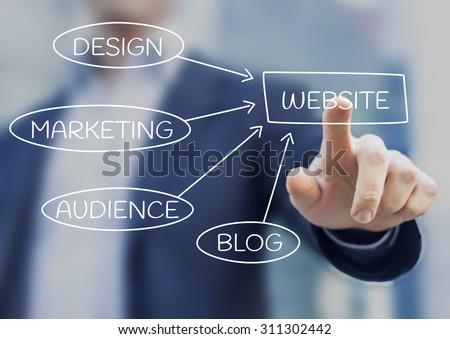 Businessman presenting website strategy about marketing, design, audience and blog - stock photo