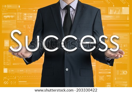 businessman presents a word success with his own hands - stock photo