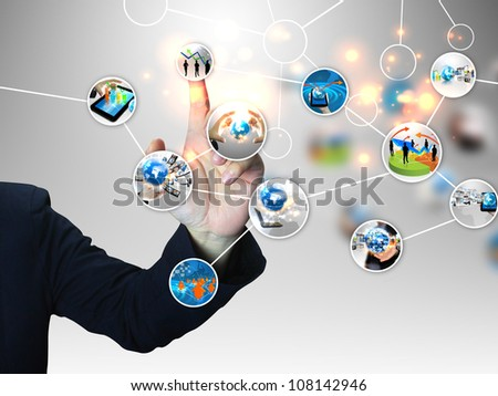 businessman press business diagram - stock photo