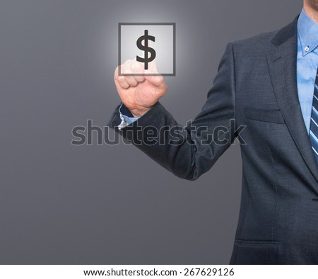 Businessman press dollar sign icon. Business concept. Isolated on grey. Stock Image