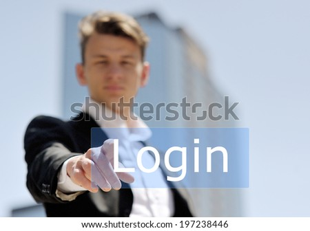 businessman press virtual login button - technology, internet and networking concept - stock photo