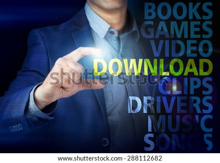 Businessman presses button  download on virtual screens. Business, technology, internet and networking concept. - stock photo