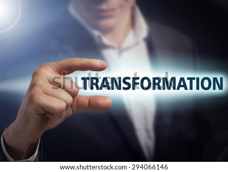 Businessman presses button transformation on virtual screens. Business, technology, internet and networking concept. - stock photo