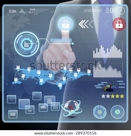 businessman presses interface - stock photo