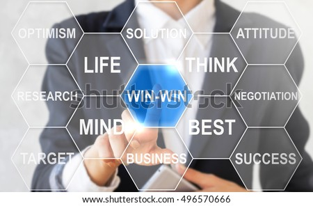 Businessman presses win-win collocation in cloud of hexagon. Woman touched win icon. Win win sign business concept, life, think, strategy, success, web, internet technology. Cloud tag win in honeycomb