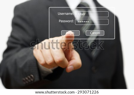 businessman pressing authentication button on login display