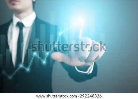Businessman pressing button on touch screen interface and select button whith your text. graph. chart. templete.  business concept. - stock photo
