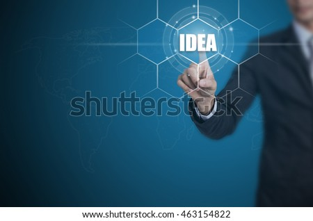 Businessman pressing button on touch screen interface and select Idea, Business concept.