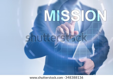Businessman pressing button on touch screen interface and select Mission. Business, internet, technology concept.