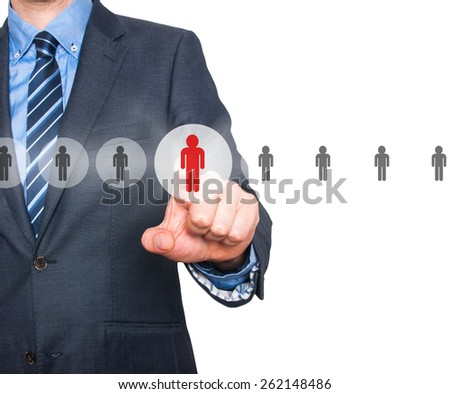 Businessman pressing button on virtual screens. Business, technology, internet, networking and recruitment concept - Isolated on white background. Stock Photo - stock photo