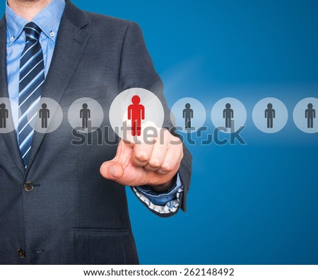 Businessman pressing button on virtual screens. Business, technology, internet, networking and recruitment concept - Isolated on blue background. Stock Photo - stock photo