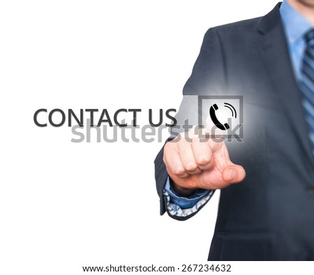 Businessman pressing button on virtual screens. Isolated on white. Business, technology and internet concept - Stock Image - stock photo