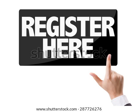 Businessman pressing button with the text: Register Here - stock photo