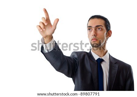 Businessman pressing buttons in the air - stock photo