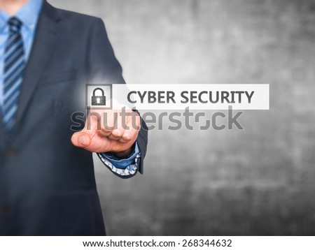 Businessman pressing Cyber Security button on virtual screens. Padlock Icon. Isolated on grey. Business, security, technology, internet and networking concept - Stock Image - stock photo