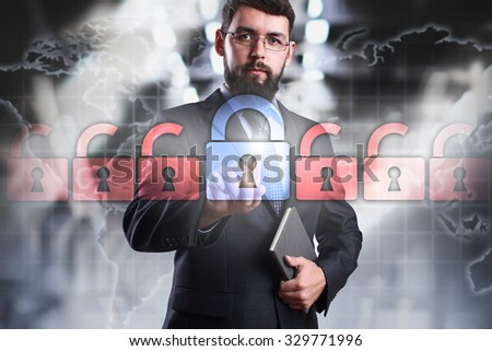 Businessman pressing cyber security buttont on the virtual screen. Business, internet and technology concept. - stock photo