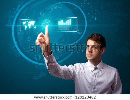 Businessman pressing high tech type of modern buttons on a virtual background - stock photo