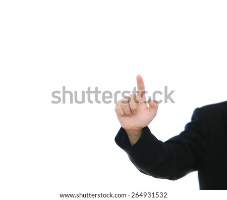 businessman pressing on grey background