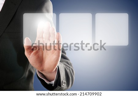 businessman pressing one of the tree buttons on a virtual background