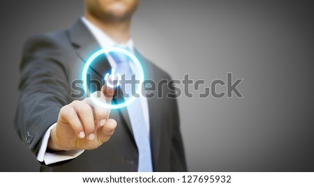 Businessman pressing power button concept - stock photo