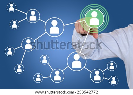 Businessman pressing relations and contacts in social network - stock photo