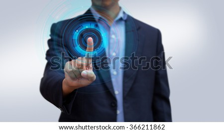 Businessman pressing screen virtual interface. Abstract modern technology. Businessman hand working computer interface. - stock photo