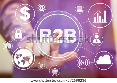 Businessman pressing sign button b2b virtual set - stock photo