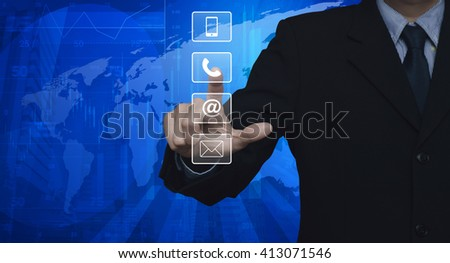 Businessman pressing telephone, mobile phone, at and email buttons over map and city tower, Customer support concept, Elements of this image furnished by NASA