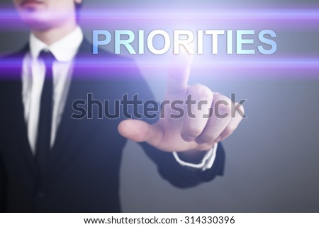 "Businessman pressing touch screen interface and select ""Priorities"". Business concept. Internet concept. - stock photo"
