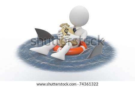 Businessman protecting his money from sharks - stock photo