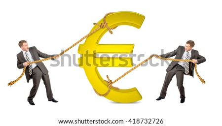 Businessman pulling glowing euro sign against another man isolated on white background - stock photo