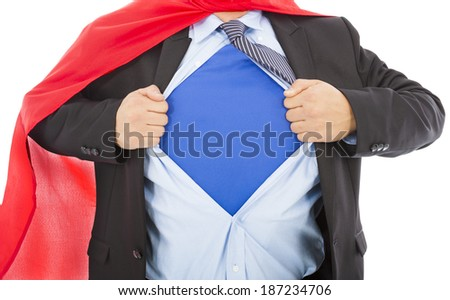 Businessman pulling his t-shirt open in white background - stock photo