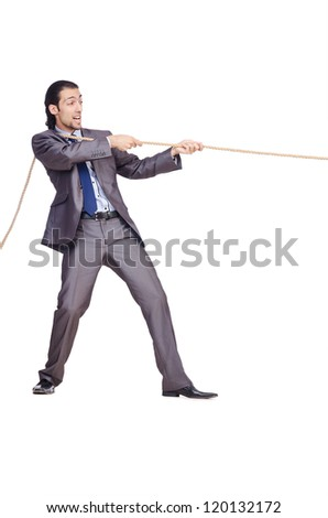 Businessman pulling rope on white - stock photo