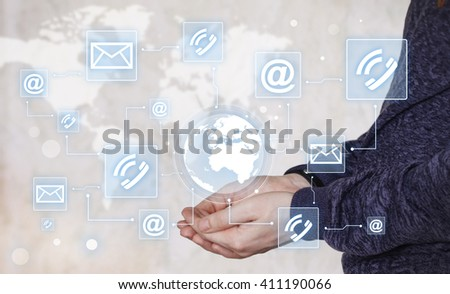 Businessman push button map web network mail icon