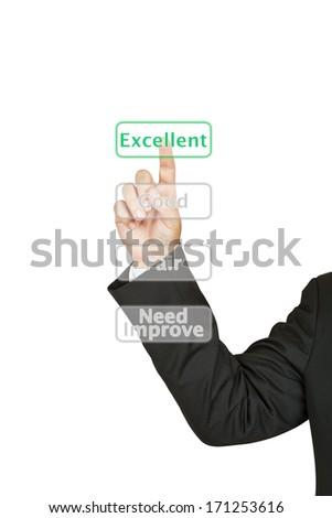 Businessman push excellent button - stock photo