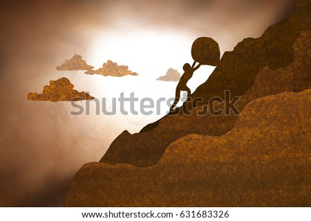 Businessman push large boulder up to hill